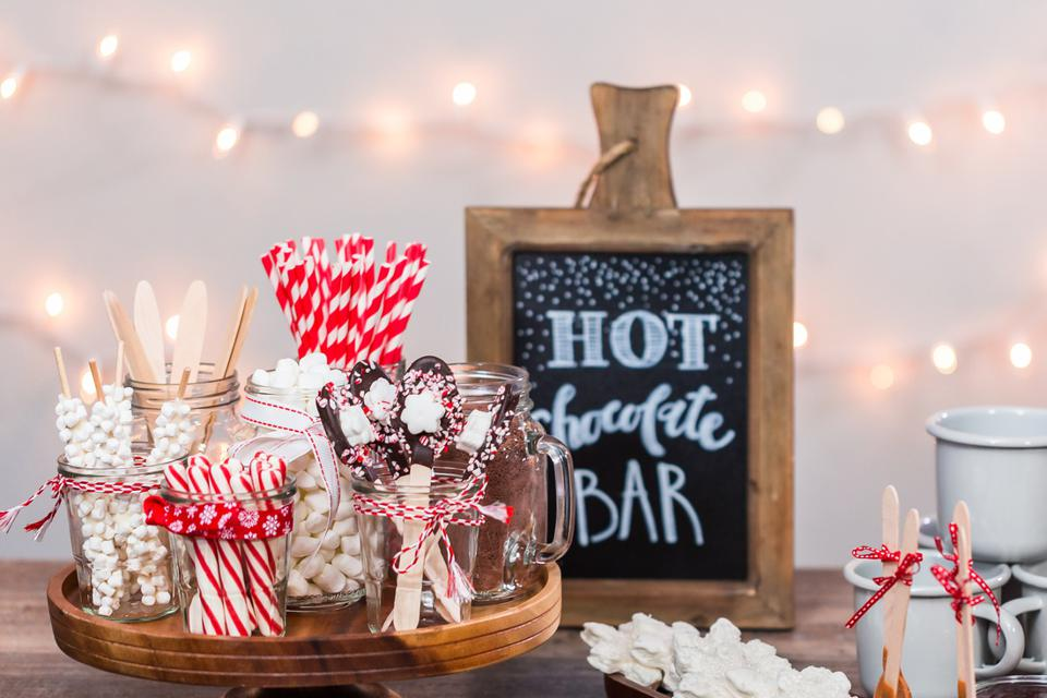 Hot chocolate station with variety of topppings.