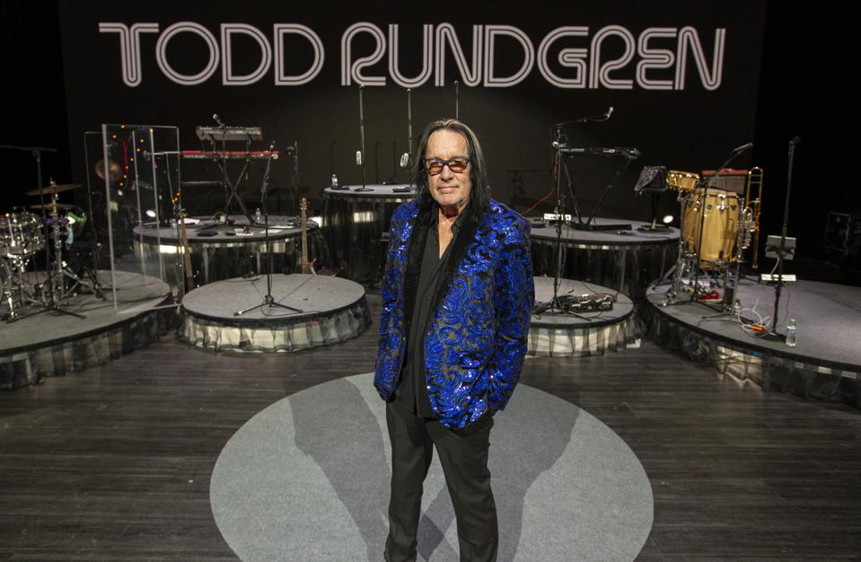 Rock and Roll Hall of Fame nominee Todd Rundgren poses on stage during rehearsals for his ″Clearly Human″ virtual tour. Friday, February 12, 2021 in Chicago, IL (Photo by Barry Brecheisen)