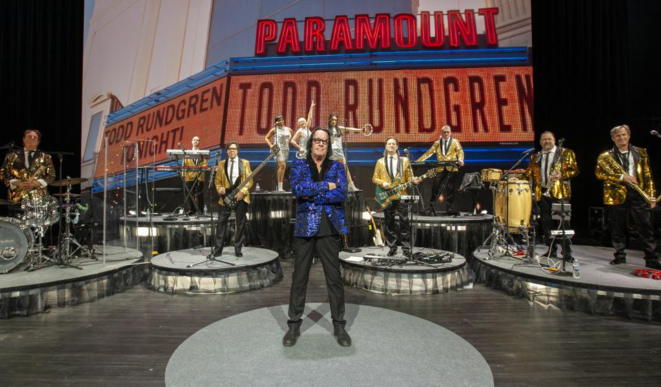 Todd Rundgren poses on stage with his 10-piece backing band during rehearsals for his ″Clearly Human″ virtual tour/livestream event. February 12, 2021 in Chicago, IL (Photo by Barry Brecheisen)