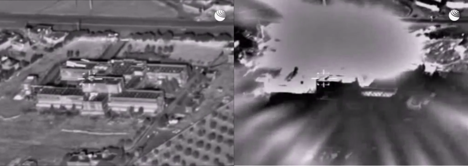 Two screen captures shows missile plummeting into building which explodes.
