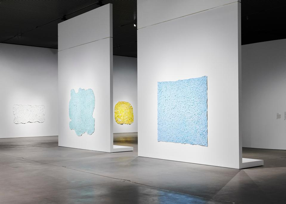 Installation view: Howardena Pindell: Rope/Fire/Water, October 16, 2020 – April 11, 2021 at The Shed New York.