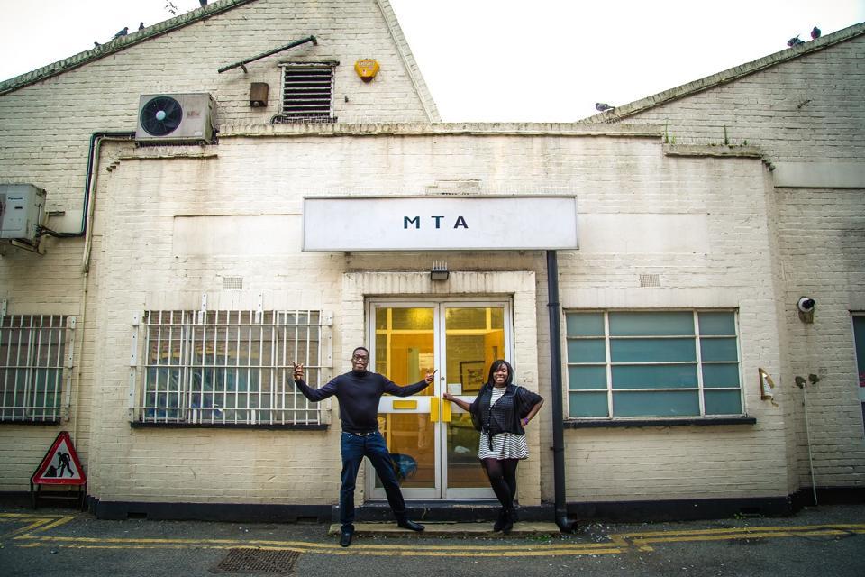 Andrew Osayemi & Debra Odutuyo outside their studio