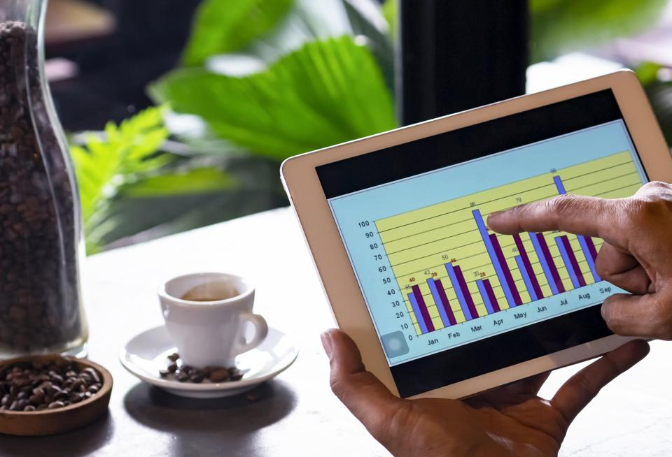 clicking and analysis business financial report.