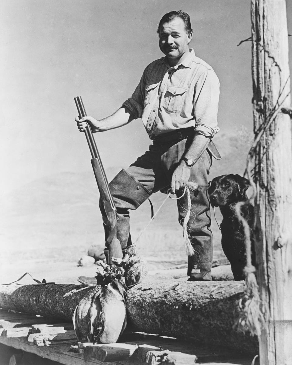 Ernest Hemingway Posing with Shotgun and Labrador
