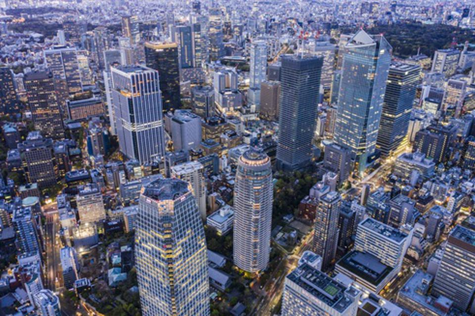 Tokyo Toranomon aerial view of the downtown