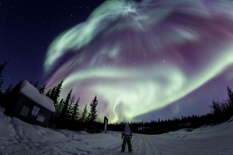 View of aurora borealis storm around midnight in Yellowknife, Canada on December 23, 2020.