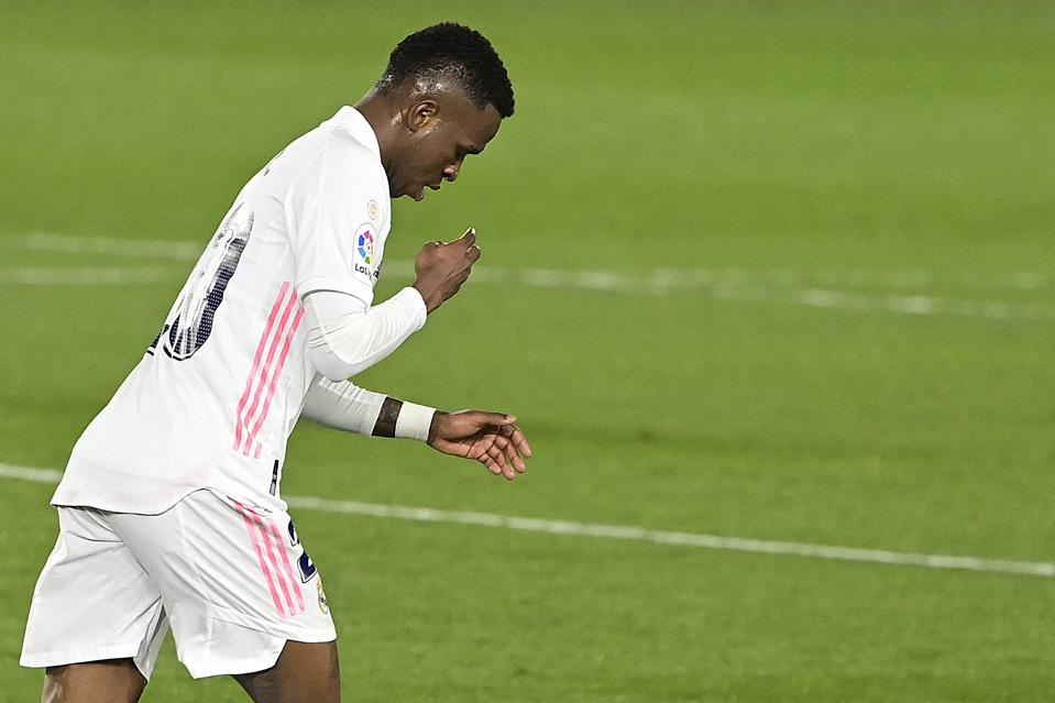 Vinícius Júnior looks relieved as he celebrates a goal for Real Madrid in La Liga.