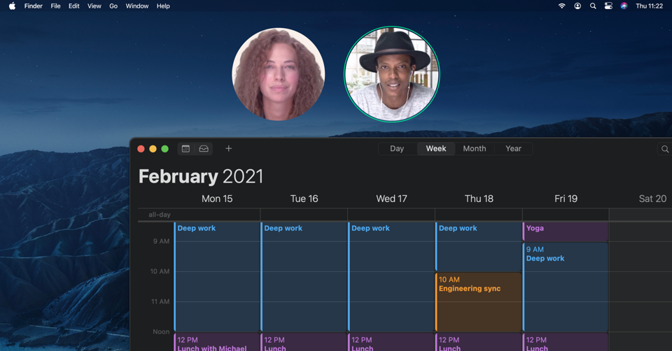 Two users on a video call while also being able to see a shared calendar and backgorund.