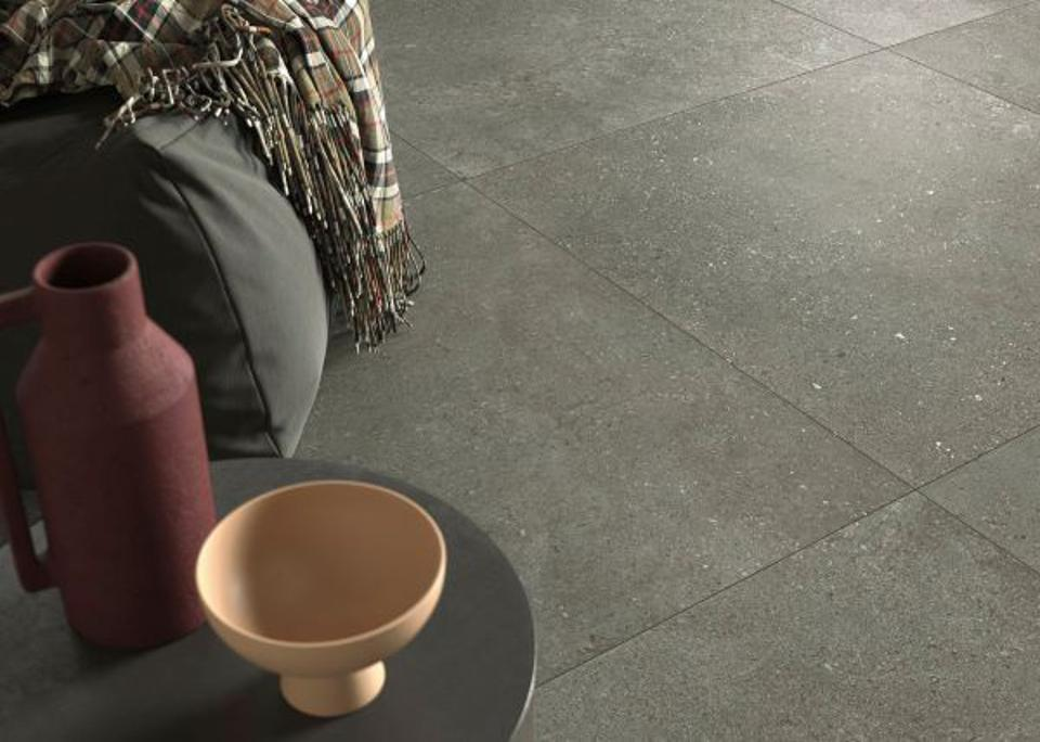 Terrazzo-inspired floor tiles