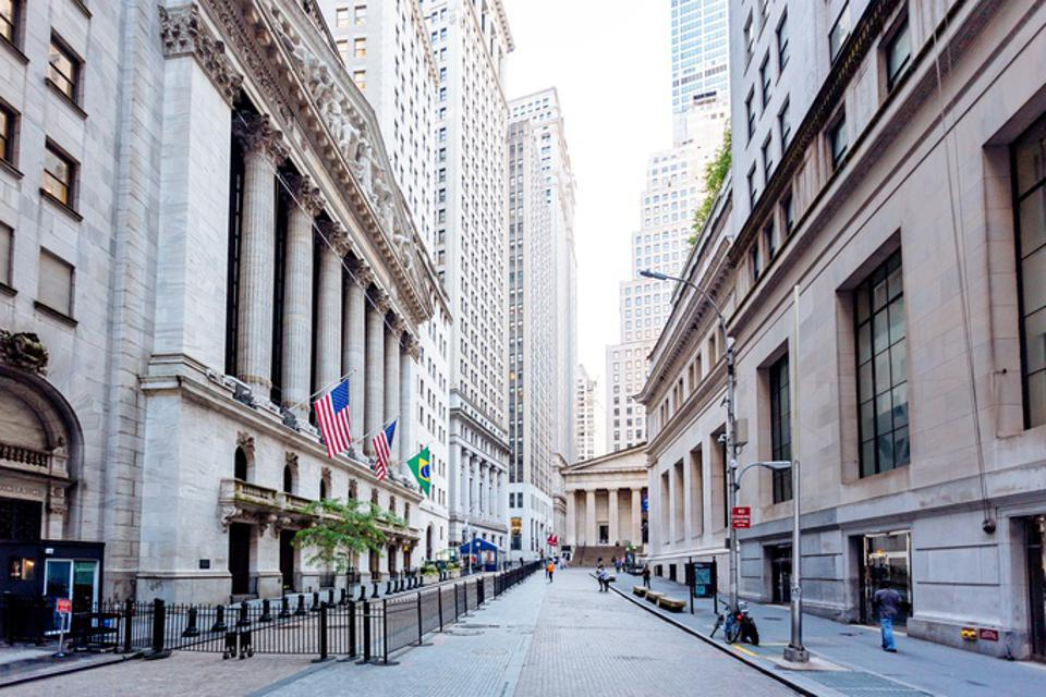 Wall Street and New York Stock Exchange in Downtown Manhattan, New York City, USA