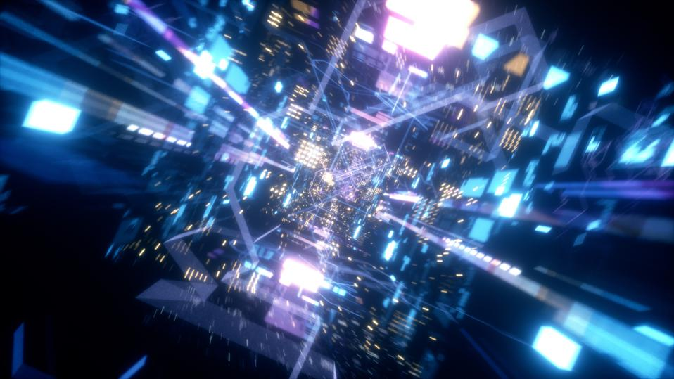 Flying in the chaotic technological futuristic space tunnel of colorful lights and shapes.