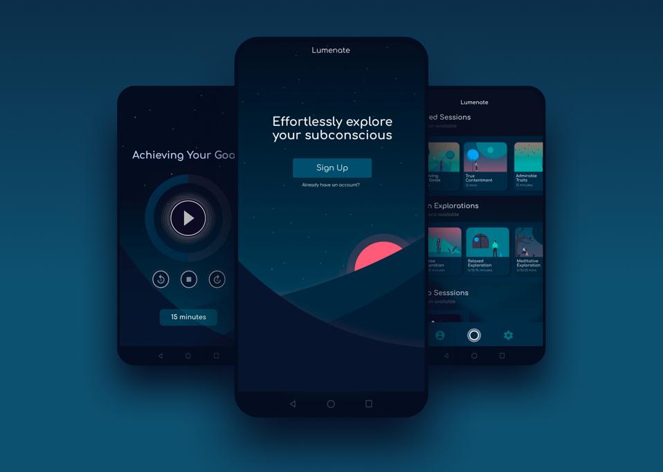 Three smartphones displaying various screens from the Lumenate app.