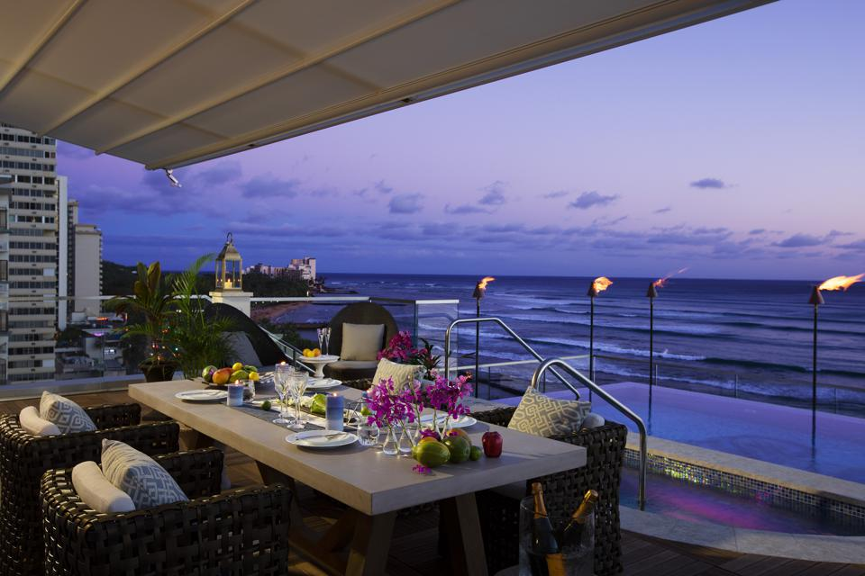 A terrace overlooking the ocean at ESPACIO, The Jewel of Waikiki.