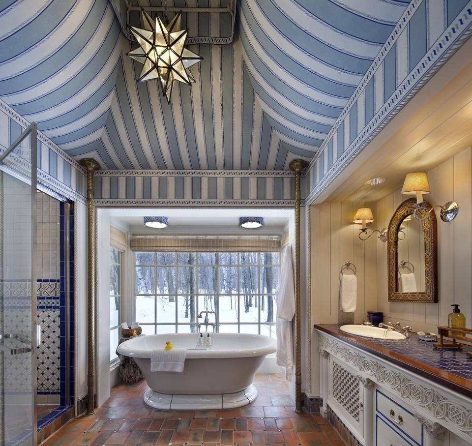 A luxurious bathroom suite at Twin Farms in Vermont.