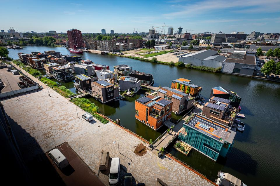 Aerial view of the Schoonschip floating community in Amsterdam.
