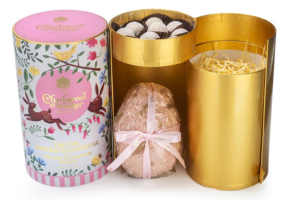 Pink Easter Egg with Marc de Champagne Truffles with gold cylinders
