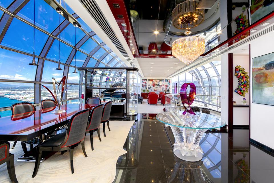 dining room inside luxury hawaii penthouse at 415 South St #4502 honolulu