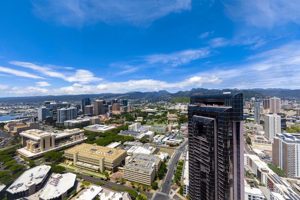 aerial photo of one watefront towers luxury condominium honolulu hawaii