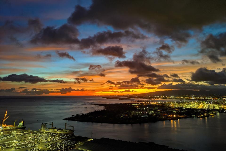 view at night from makai tower honolulu hawaii