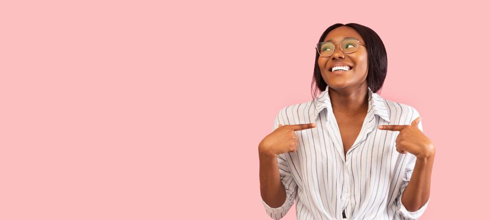Black Woman Pointing Fingers At Herself Over Pink Background, Panorama