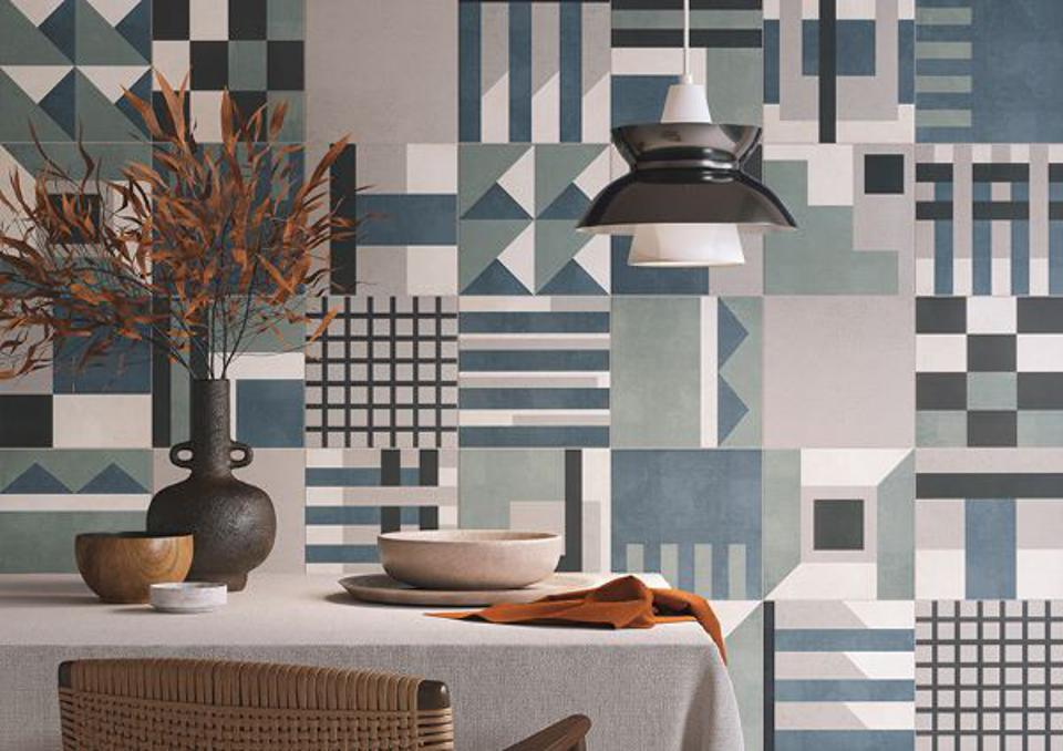 Concrete tile lookalikes on a dining room wall