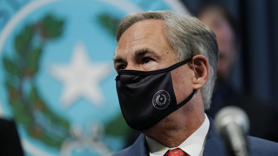 Texas Gov. Greg Abbott wearing a mask