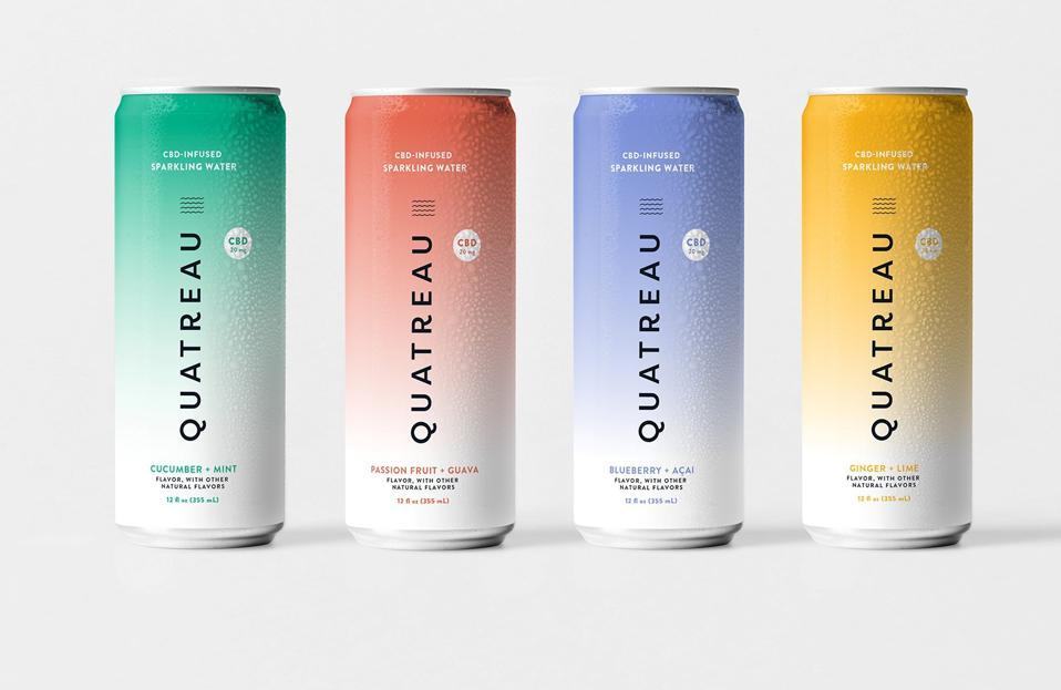 Quatreau sparkling CBD water - four cans of sparkling CBD beverage