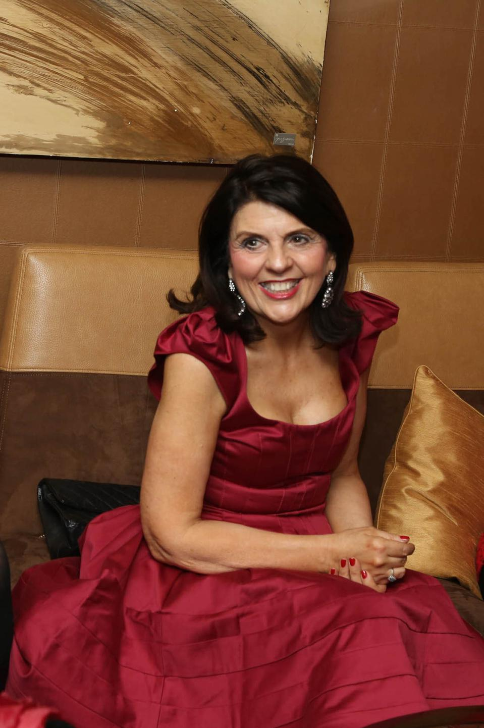 Susan Miller, Astrology Zone founder in a red dress