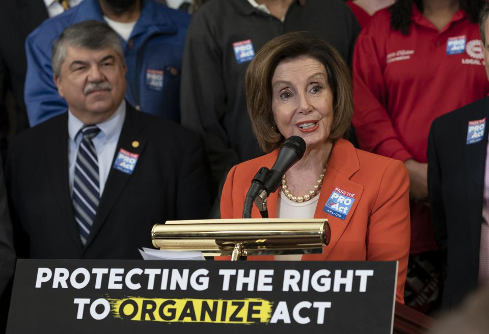House Speaker Nancy Pelosi and AFL-CIO President Richard Trumka at a news conference about the union organization PRO Act.