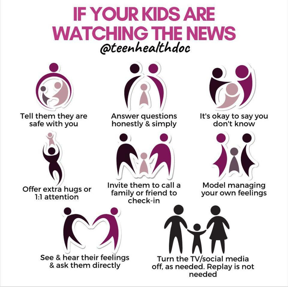 Dr. Hina Talib's infographic on instagram about tips for news watching in children