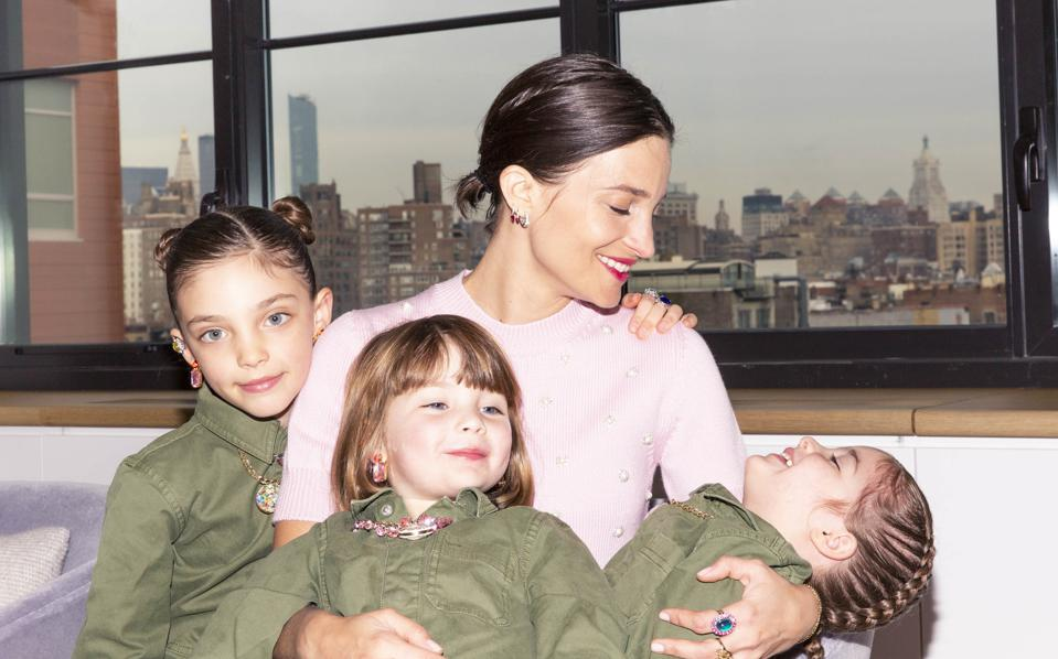 Super Smalls founder Maria Duenas-Jacobs and her three children.