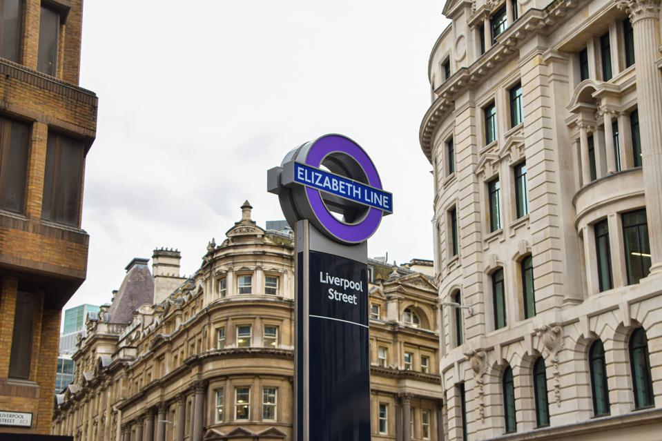 A new Elizabeth Line sign unveiled at Liverpool Street Station