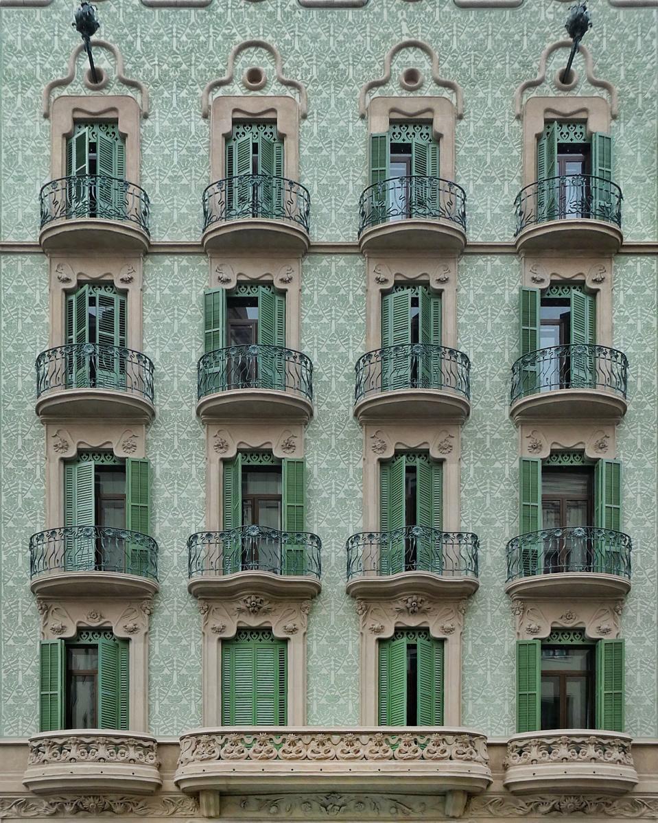 La Vanguardia building facade Barcelona architecture