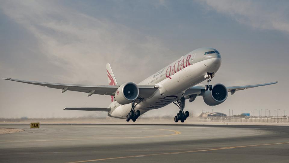 Qatar Airways Boeing 777 takes off.