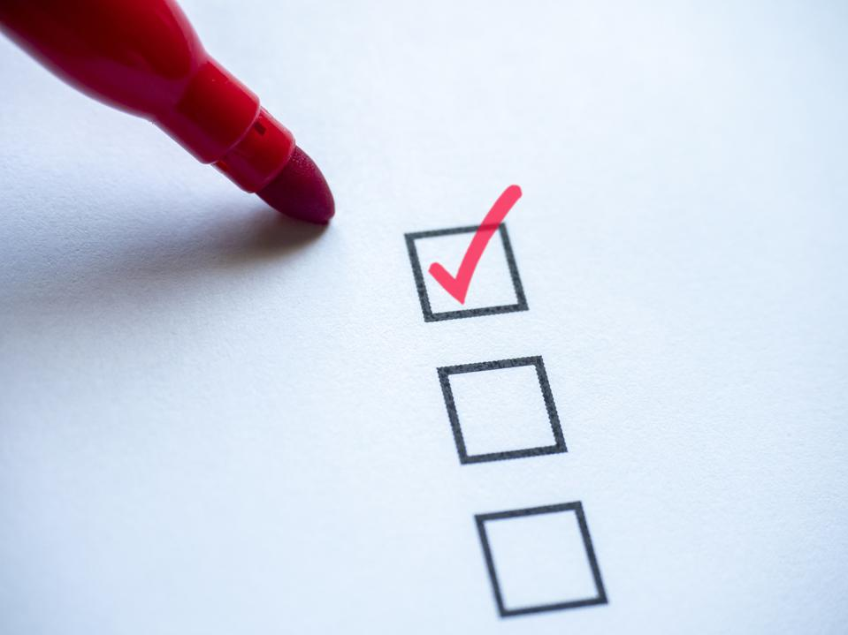 Check Mark In Checklist Box On White Background