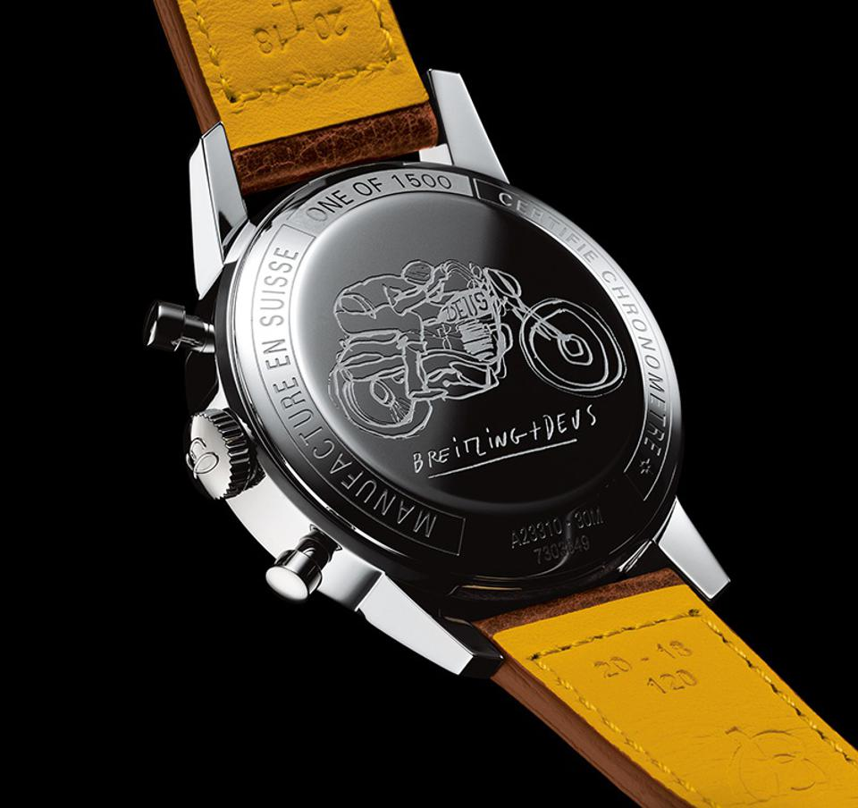 The caseback of the Breitling Top Time Deus depicts a motorcyclist in full flight.