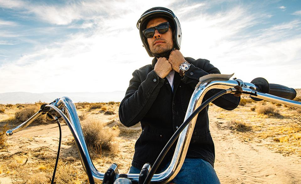 California surfer and motorcycle enthusiast Forrest Minchinton is part of the Breitling Deus squad.