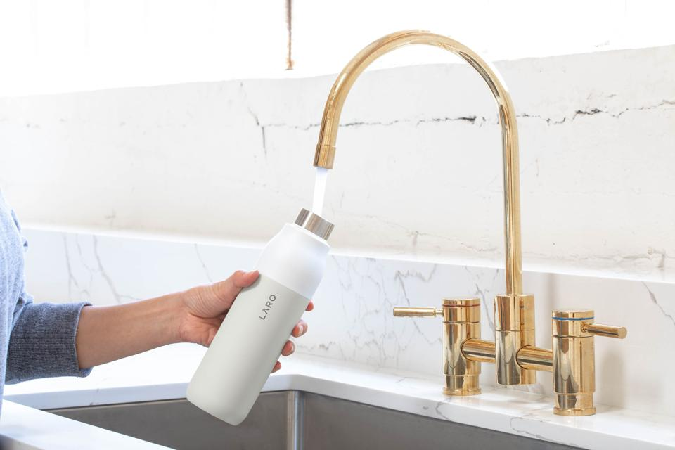 self-cleaning, reusable water bottle