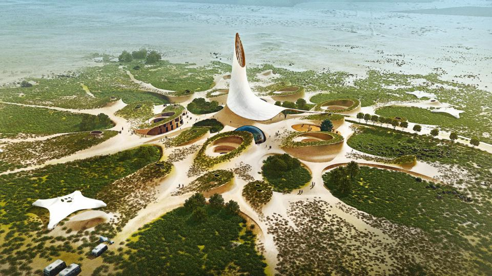 incorporates solar, geothermal, passive cooling, composting, greenhouses, aquaponics, biodigesters, and greywater recycling. A top ten submission to the LAGI 2020 Fly Ranch Design Challenge.