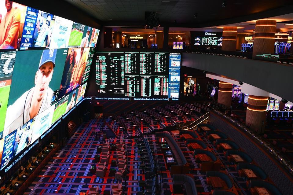 Massive sportsbook in the new Circa casino resort in Las Vegas