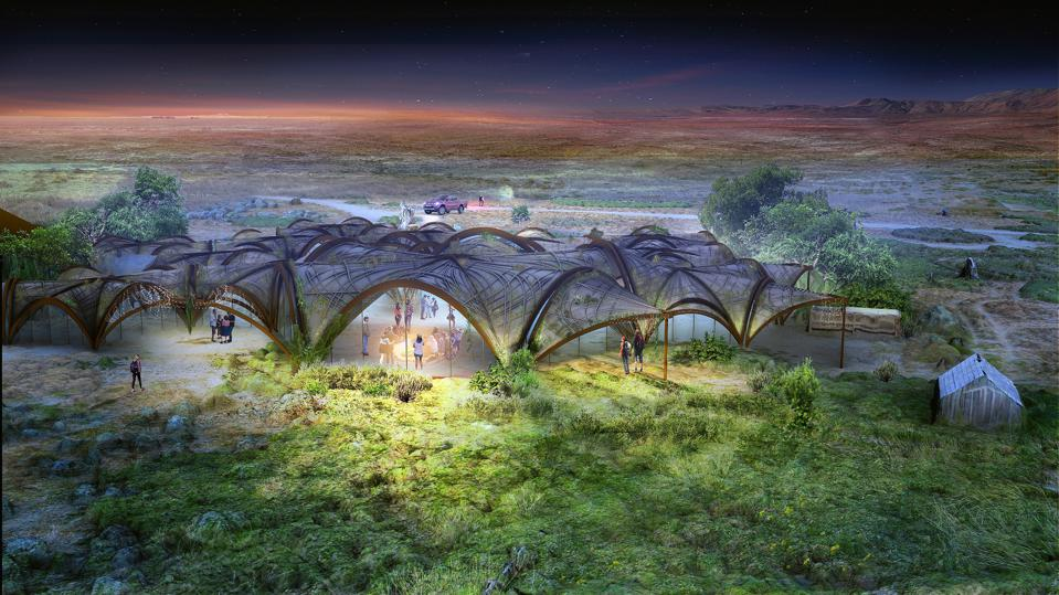 explores the design capabilities of Ferrock, a sustainable alternative to concrete that absorbs CO2 through the curing process of building components. A top ten submission to the LAGI 2020 Fly Ranch Design Challenge