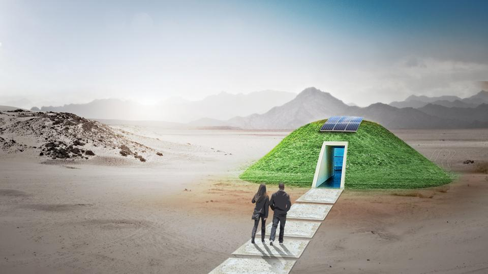 uses atmospheric water generation technology from Source powered by solar photovoltaic to contribute potable water for Fly Ranch. Shortlisted proposal to the LAGI 2020 Fly Ranch Design Challenge.