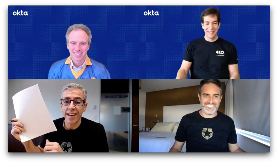 Frederic Kerrest and Todd McKinnon from Okta with Eugenio Pace and Matias Woloski from Auth0.