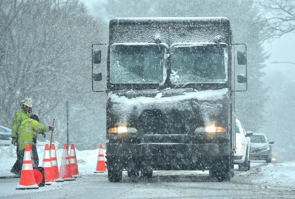Heavy snow falling in Delaware County Monday Feb. 22, 2021