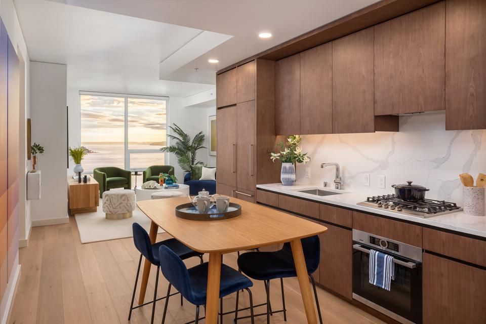 A spacious kitchen in a unit at The Emerald.