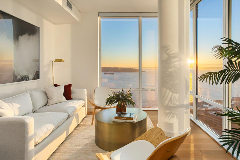 A beautiful sunset seen from within a model unit.