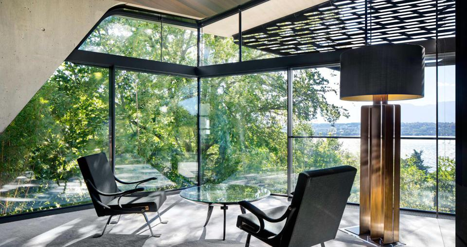 sitting area overlooking geneva lake saota villa courve switzerland modern home
