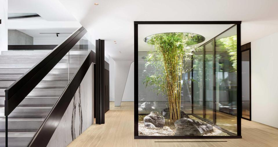 basement atrium villa courbe saota modern home switzerland