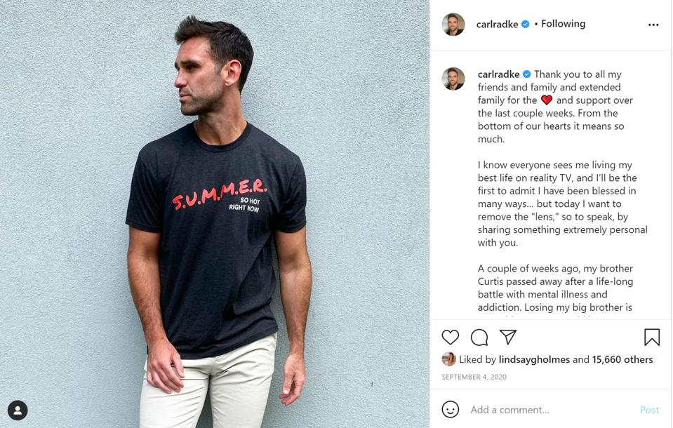 Instagram post from September announcing his brother's death. Shirts by More Summer Fun.