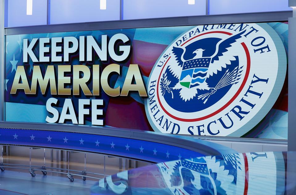 Homeland Security banner stating 'keep America safe'